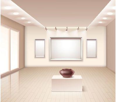 Exhibition Gallery Interior With Brown Vase