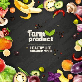 Fruits And Vegetables Chalkboard