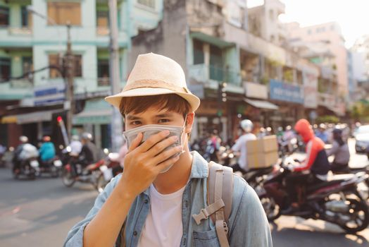 Vietnamese wearing face masks due to the pollution situation in Ho Chi Minh city