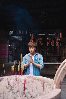 In Ho Chi Minh City, Vietnam, A bridge incense students an academic luck at Thien Hau Temple, Cholon, Ho Chi Minh City, Vietnam.