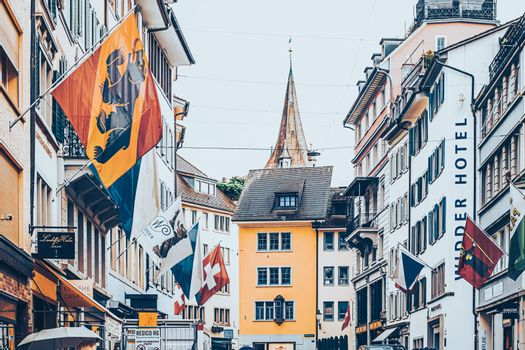 Cinematic view of historic Old Town, shops and luxury stores near main downtown Bahnhofstrasse street, Swiss architecture and travel destination in Zurich, Switzerland