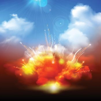 Explosion clouds and blue sky banner
