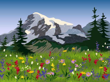 Landscape summer alpine medow poster
