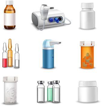 Medical bottles realistic