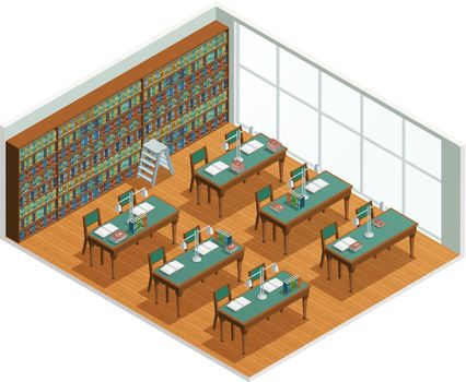 Bookstore Library Isometric Interior