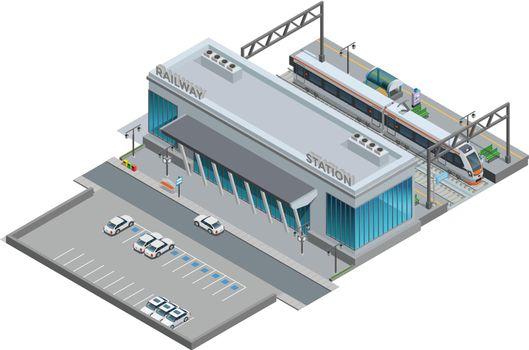 Isometric Miniature Of Railway Station