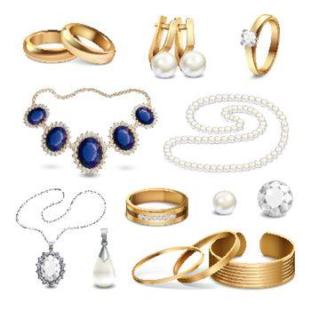 Jewelry Accessories Realistic Set