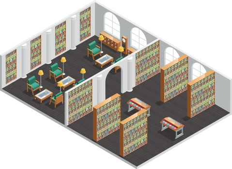 Bookstore And Library Isometric Interior