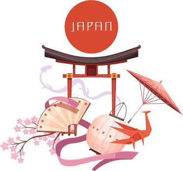 Japanese Culture Elements Retro Cartoon Illustration