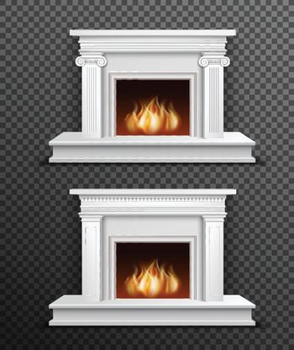 Indoor Fireplace Set On Transparent Background