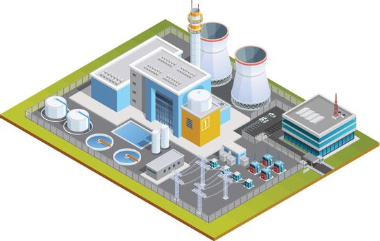 Isometric Image Of Nuclear Station