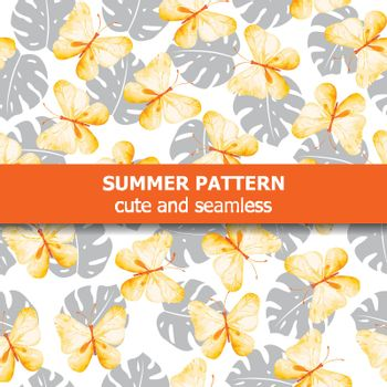 Watercolor pattern with butterflies and exotic leaves. Summer banner. Vector