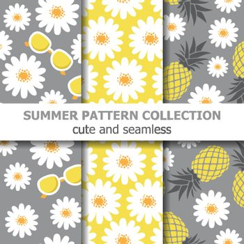 Cute summer pattern collection with daisies, sunglasses and pineapples. Summer banner. Vector