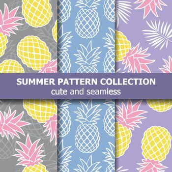 Tropical pattern collection with pineapples. Summer banner. Vector