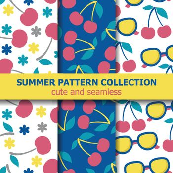 Summer pattern collection with cherries and sunglasses. Summer banner. Vector