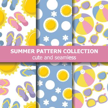 Summer pattern collection with beach theme. Summer banner