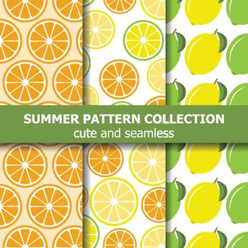 Juicy pattern collection with lemons and oranges. Summer banner. Vector