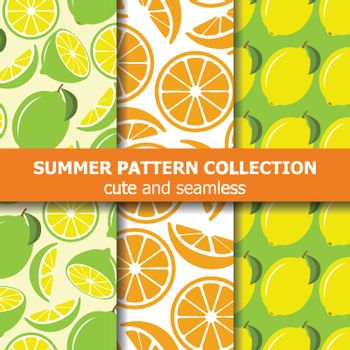 Fresh pattern collection with lemons and oranges. Summer banner. Vector