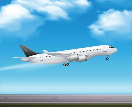Passenger Airliner Takeoff  Realistic Poster