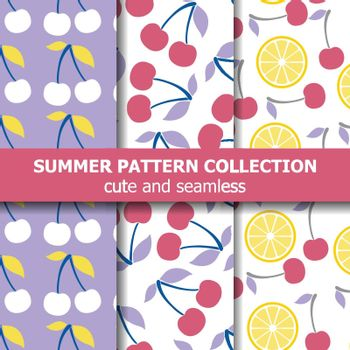 Delicious pattern collection with cherries and lemons. Summer banner. Vector