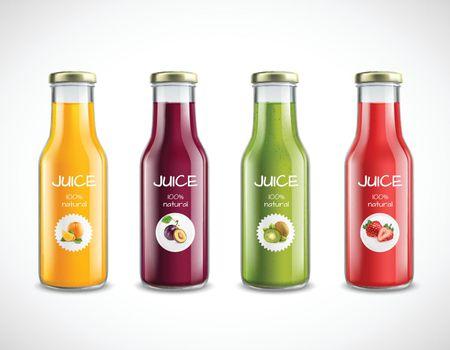 Juice Glass Bottles Set