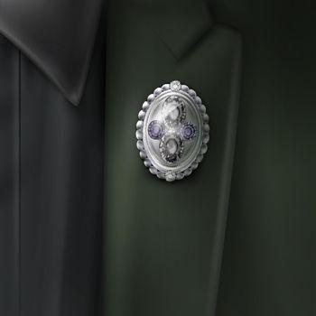 Vector silver brooch