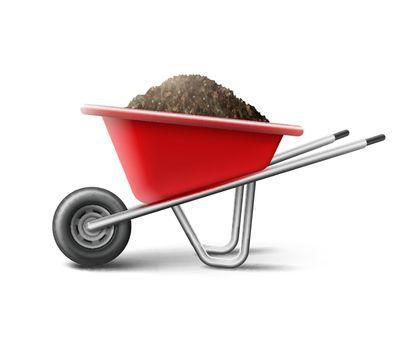 Vecror red wheelbarrow