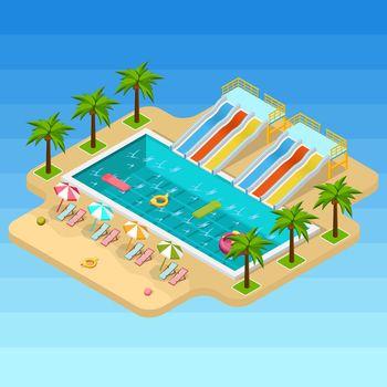 Isometric Aqua Park Composition