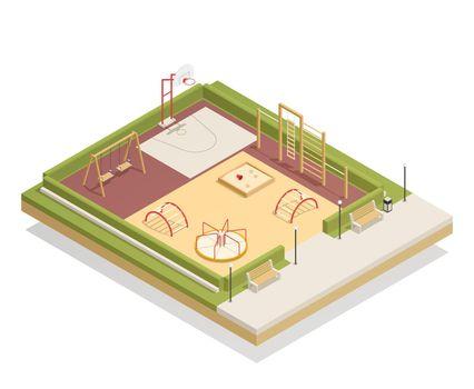 Kids Playground Isometric Mockup