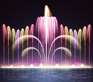 Light Fountain Realistic Night Background