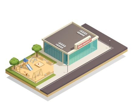 Kids Playground Near Shop Isometric Composition
