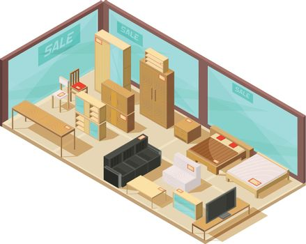 Furniture Store Isometric Composition
