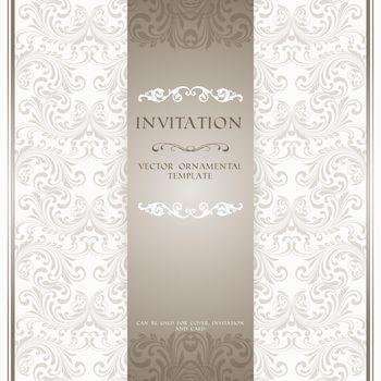 Light beige ornamental invitation card