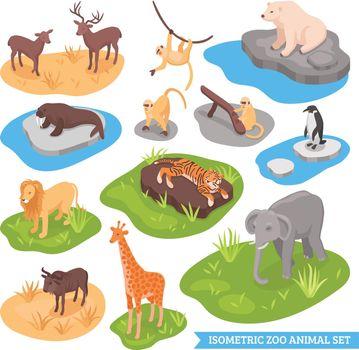 Isometric Zoo Animal Set