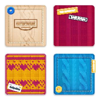 Knitted Patterns Realistic Samples Set