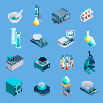 Laboratory Equipment Isometric Icons