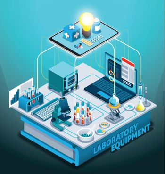 Laboratory Equipment Isometric Composition