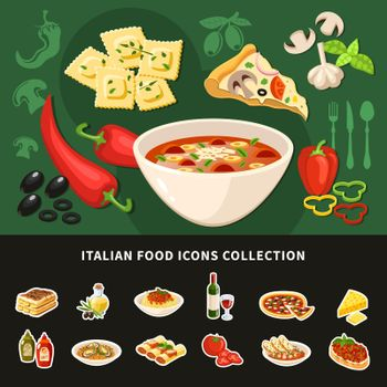 Italian Food Icons Collection