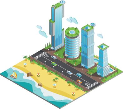 Isometric Futuristic Skyscrapers Composition