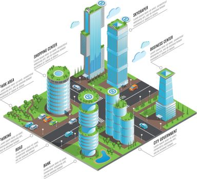 Isometric Futuristic Skyscrapers Infographics