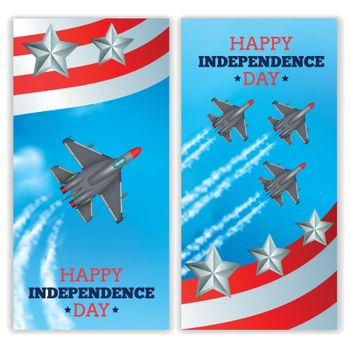 Airplanes Independence Day Banners Realistic