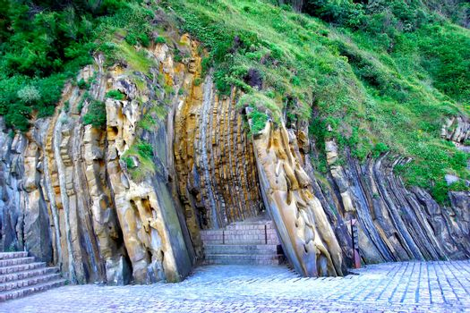 Geological Folds of Rock Layers, Basque Country, Spain