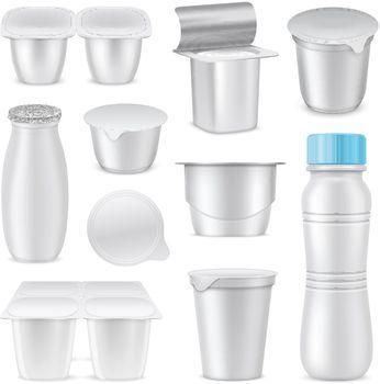 Yoghurt Mockup Template Packaging Icon Set