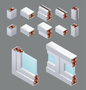 PVC Windows Isometric Elements