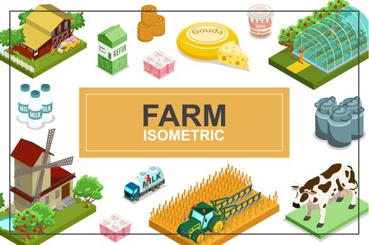 Isometric Farming Colorful Concept