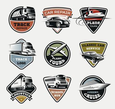 Isolated Transport Retro Logos Set
