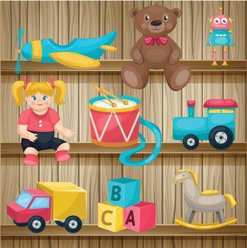 Kids Toys On Shelves Conposition