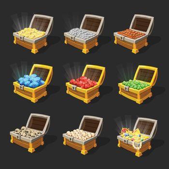 Isometric Treasure Chests Set