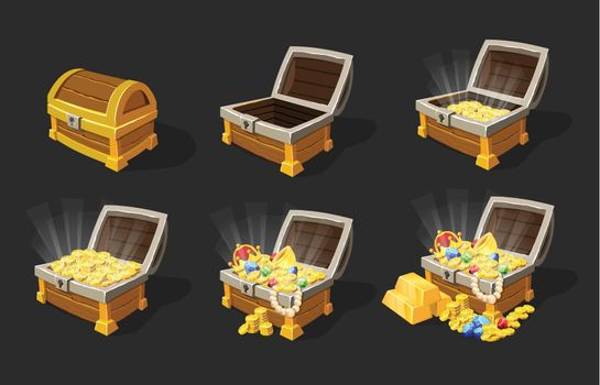Isometric Treasure Chests Animation Set