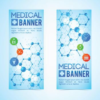 Medicine And Aid Banners Set